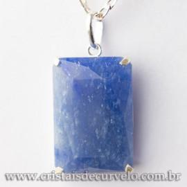 Pingente Gema Facetado Quartzo Azul Garra na Prata 950 113042