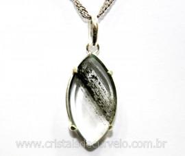 Pingente Facetado Cristal com Lodolita Prata 950 Cod PL1369