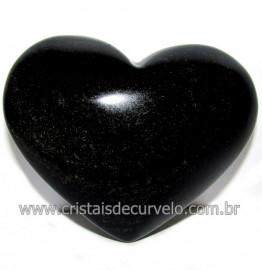 Coraçao de Obsidiana Negra Mineral Lava Vulcanica Cod 116323