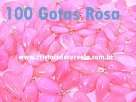 100 Gota Rosa Pedra Quartzo Pingente Banhado Prata