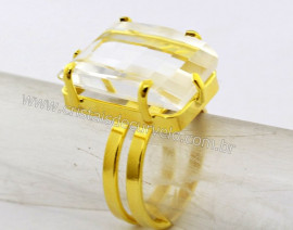 Anel Cristal Facetado Pedra natural de Garimpo Banho Flash Dourado Aro Ajustavel REFF 37.4