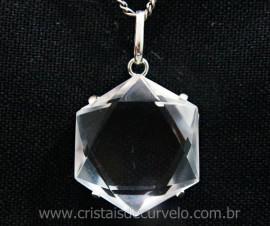 Estrela de Davi Pingente Pedra Cristal Montagem na Garra Prata 950