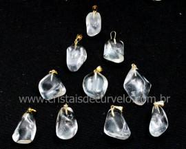 10 Pingente Pedrinha Quartzo Cristal Rolado Pino Argola Flash Dourado ATACADO
