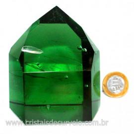 Ponta Obsidiana Verde Cristalizada Transparente Cod 127476