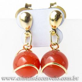 Brinco Bolinha Na Cesta Pedra Agata Vermelha Dourado 112804