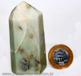 Ponta Pirofilita Verde Gerador Pedra Com Dendrita Cod 101501