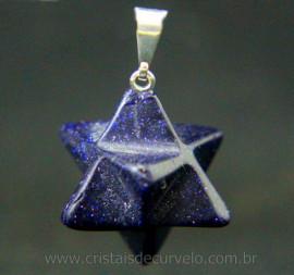 Merkaba Pingente Pedra Estrela Azul Presilha Prateado