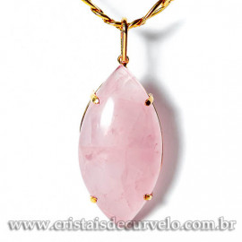 Pingente Gigante Navete Quartzo Rosa na Garra Dourado 125089