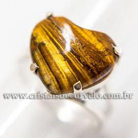 Anel Prata 950 Coração Olho de Tigre aro Ajustavel 112572