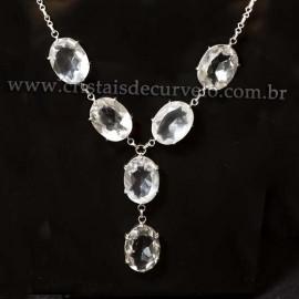 Conjunto Maxxi colar Cristal Natural 7 Pedras Prata 950 111683