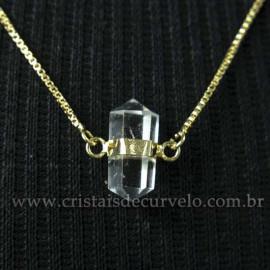 Colar Pedra Cristal de Quartzo Micro Bi Ponta Envolto Dourado