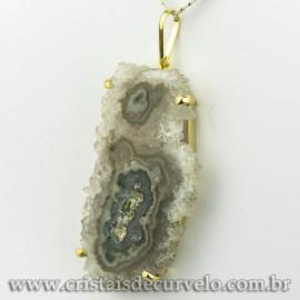 Pingente Flor de Ametista Pedra Natural Garra Dourado 120605