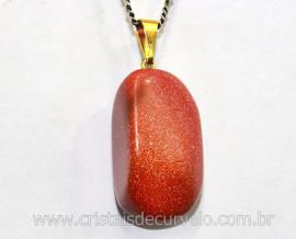 Pingente Pedra do Sol Pedrinha Rolado Montagem com Pino Dourado
