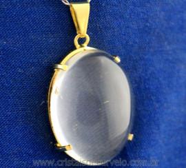 Pingente Extra Cabochao Pedra Quartzo Cristal Montagem Garra Dourado