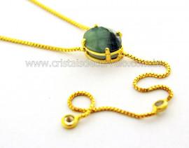 Colar Gravata Pedra Esmeralda Natural Dourado Reff CG7332