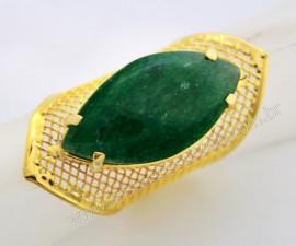 Anel Tela Pedra Quartzo Verde Navete Armação de Luxo Elegante Ajustavel Dourado  AC1230