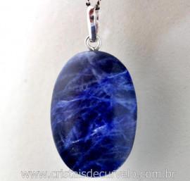 Pingente Cabochão Sodalita Azul Castoação Prata 950 Pino e Perinha