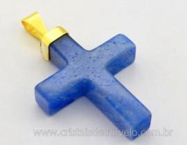 Crucifixo Quartzo Azul Pingente Cruz Pedra Natural Montagem Envolto Banho Flash Dourado