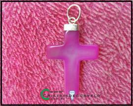 Crucifixo Agata Rosa Pingente Cruz Pedra Natural  Banho Flash Dourado