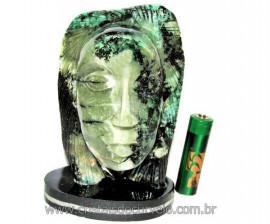 Busto de Artesanato Rosto Esculpido Pedra Esmeralda Cod RE4662