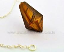 Pendulo Pedra OLHO DE TIGRE  Piramidal Lapidado Invertido Montado Corrente