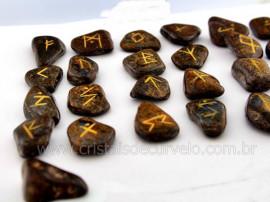 Jogo de Runas Alfabeto Antiga Europa Viking 25 Pedras Natural Bronzita