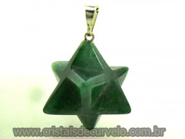 Merkaba Pingente Pedra Quartzo Verde Presilha Prateado