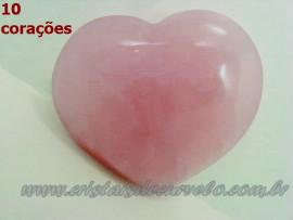 Lembrança de Casamento 10 Corações Quartzo Rosa Tamanho 5 cm ATACADO
