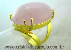 Anel Quartzo Rosa Cabochão Oval Pedra Natural Montagem Banho Flash Dourado Aro Ajustavel