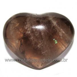 Coraçao Pedra Quartzo Fume com Esfumaçado Natural Cod 116087