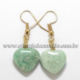 Brinco Coração Pedra AMAZONITA  Verde Montagem Anzol Reff BC3848
