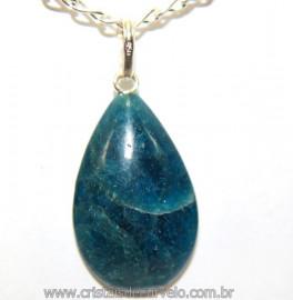 Pingente Gota Pedra Apatita Azul Pino Prata 950 Reff 106481