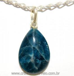 Pingente Gota Pequena Apatita Azul Pino Prata 950 Reff 106480