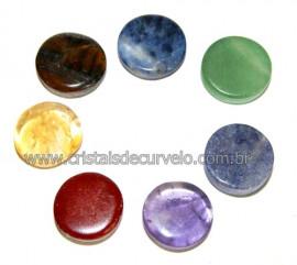 Kit 7 Chakras Disco Pedras Pequenas Kundalini Stone Reff 0.50