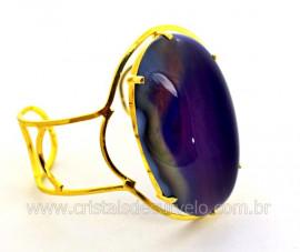 Bracelete Fixo Pedra Agata Lilas Grande Dourado REFF BG4458