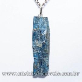 05 Pingente Cianita Azul 28mm Pino e Presilha Prata 950 ATACADO