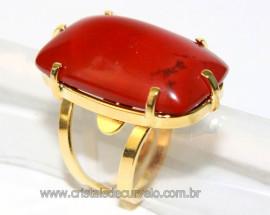 Anel Jaspe Africano Cabochão Retangular Montagem Banho Flash Dourado Reff AR4568