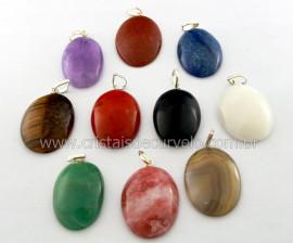 10 Pingente Misto Cabochão Oval Pedras Diversas Pino Prata 950