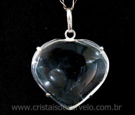 Pingente Coração Cristal Atacado Prata 950 Garra REFF CP7929