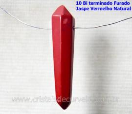 10 Bi Terminado JASPE VERMELHO Furado Para Pingente de Colar Furo Vazado Lateral Tamanho 2.5  Cm