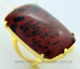 Anel Obsidiana Mahogany Cabochão Retangular Pedra Natural Montagem Banho Flash Dourado Aro Ajustavel