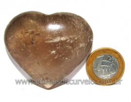 Coraçao Pedra Quartzo Fume com Esfumaçado Natural Cod 116091