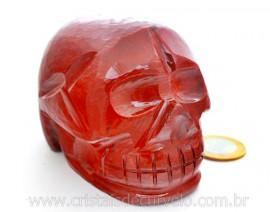 Crânio Pedra Dolomita Vermelha Esculpido Manualmente skull Stone Cod CV601.3
