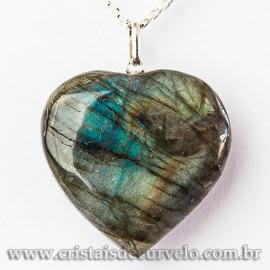 Pingente Coração Gigante Labradorita Pino Prata 950 112568
