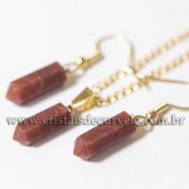 Conjunto Pingente e Brinco Quartzo Vermelho Micro Pontinha Dourado