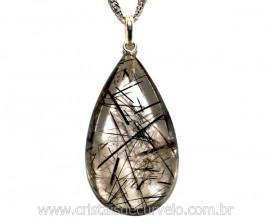 Pingente Gota Pedra CRISTAL EXTRA COM TURMALINA  Prata 950 Pino e Perinha