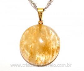 Pingente Disco Pedra Hematoide Amarelo Pino Dourado REFF PD9594