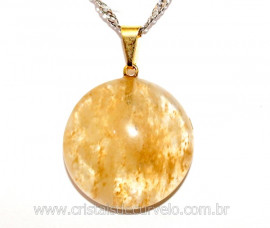 Pingente Disco Liso Pedra Hematoide Amarelo Pino Dourado