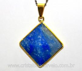 Pingente Piramide Pedra Quartzo Azul  Castoação Envolto Flash Dourado