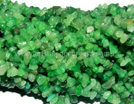 Fio Aventurina Verde Cascalho Extra Furado a Laser Pedra Natural Rolada e Furado 90cm